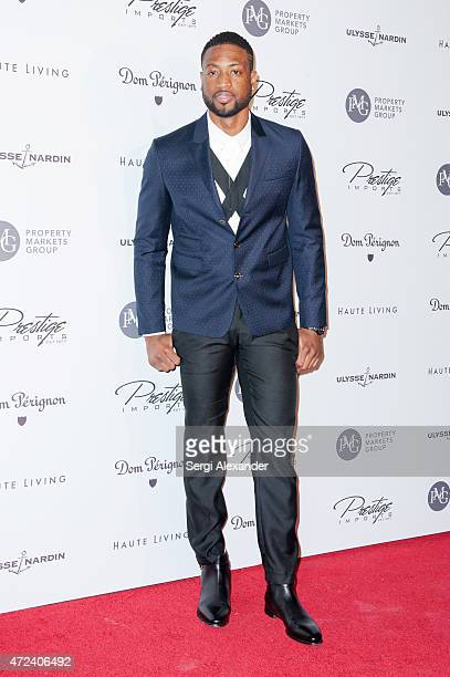 Basketball player Dwyane Wade attends Haute Living Haute 100 Dinner presented by Dom Perignon at Tamarina at Brickell World Plaza on May 6 2015 in...