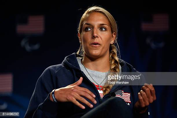 Basketball player Elena Delle Donne addresses the media at the USOC Olympic Media Summit at The Beverly Hilton Hotel on March 9 2016 in Beverly Hills...