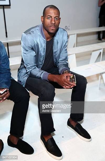 Basketball player for the Golden State Warriors Andre Iguodala attends Rochambeau Front Row New York Fashion Week Men's S/S 2017 at Skylight Clarkson...