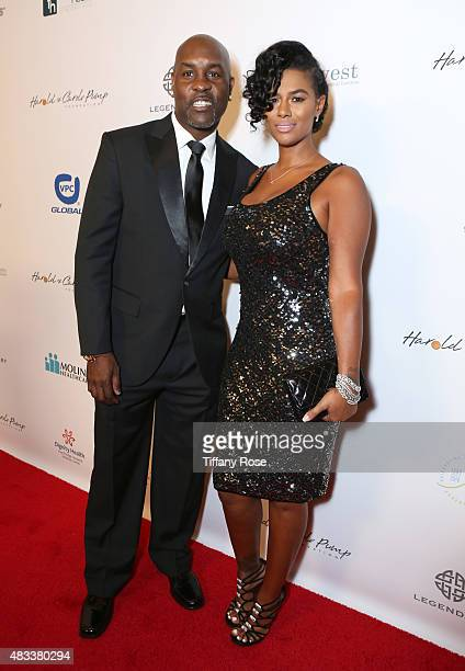 Basketball player Gary Payton and JoVan Brown attend the 15th annual Harold Carole Pump Foundation gala at the Hyatt Regency Century Plaza on August...