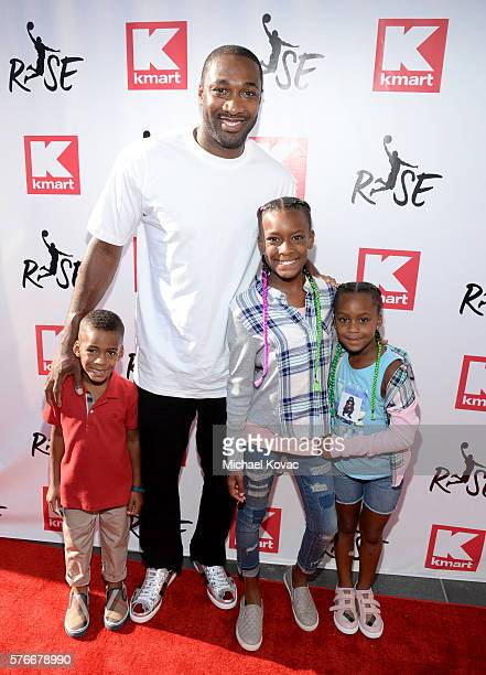 Basketball player Gilbert Arenas and family attend the Rise Challenge presented by Kmart at LA Live on July 16 2016 in Los Angeles California