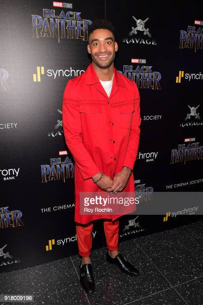 Basketball player Isiah 'Zeke' Thomas attends the screening of Marvel Studios' 'Black Panther' hosted by The Cinema Society on February 13 2018 in...