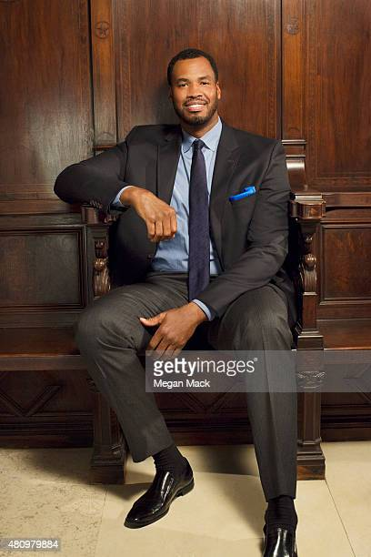 """Basketball player Jason Collins poses for a portrait at the Logo TV's """"Trailblazers"""" at the Cathedral of St. John the Divine on June 25, 2015 in New..."""
