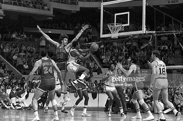 Basketball player Jo Jo White of the Boston Celtics jumps during a game against the New York Knicks in Boston Garden Boston Massachusetts 1972