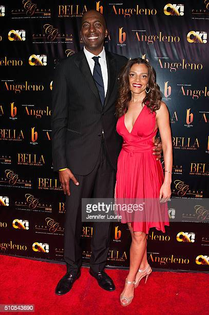 Basketball player John Salley and Natasha Duffy arrive at the 2016 City Gala Fundraiser at The Playboy Mansion on February 15 2016 in Los Angeles...