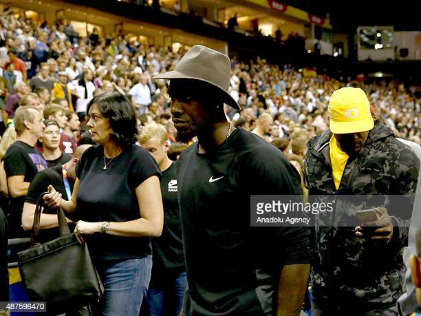 Basketball player Kevin Durant leaves after watching the EuroBasket 2015 Group B basketball match between Germany and Spain at Mercedes Benz Arena in...