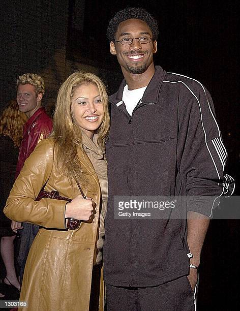 Basketball player Kobe Bryant and his fiancee Vanessa Laine arrive at Bryant''s Adidas launch party October 18 2000 in Hollywood CA