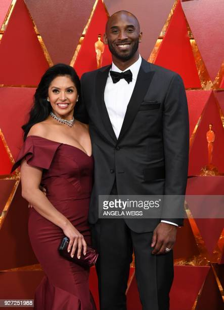 US basketball player Kobe Bryant and his wife Vanessa Laine Bryant arrive for the 90th Annual Academy Awards on March 4 in Hollywood California