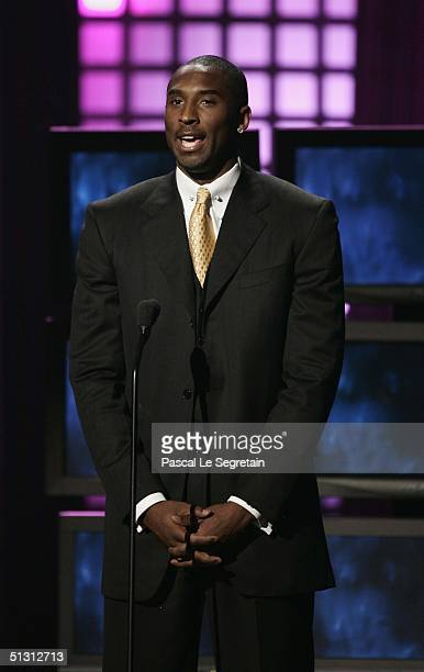 Basketball Player Kobe Bryant is seen on stage during the 2004 World Music Awards at the Thomas and Mack Center on September 15 2004 in Las Vegas...