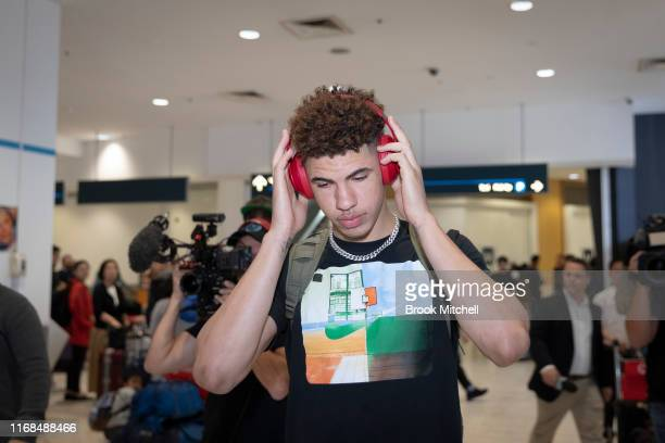 Basketball player Lamelo Ball arrives at Sydney International Airport on August 17 2019 in Sydney Australia Ball will play for the Illawarra Hawks in...
