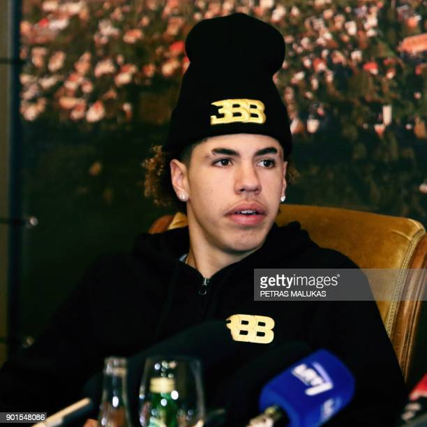 US basketball player Lamelo Ball attends a press conference in Prienai Lithuania where he will play for the Vytautas club on January 5 2018...