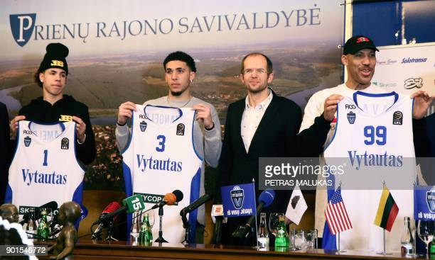 Basketball player LaMelo Ball, LiAngelo Ball and their father LaVar Ball attend a press conference in Prienai, Lithuania, where they will play for...