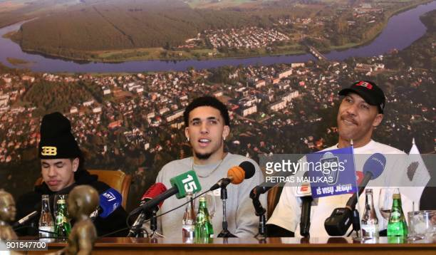 US basketball player LaMelo Ball LiAngelo Ball and their father LaVar Ball attend a press conference in Prienai Lithuania where they will play for...
