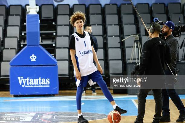 US basketball player Lamelo Ball takes part in his first training session in Prienai Lithuania where he will play for the Vytautas club on January 5...