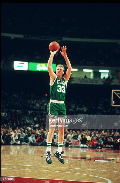 Basketball player Larry Bird plays during a basketball game February 15 1991 in Chicago IL Bird played for the Boston Celtics helped them to win...