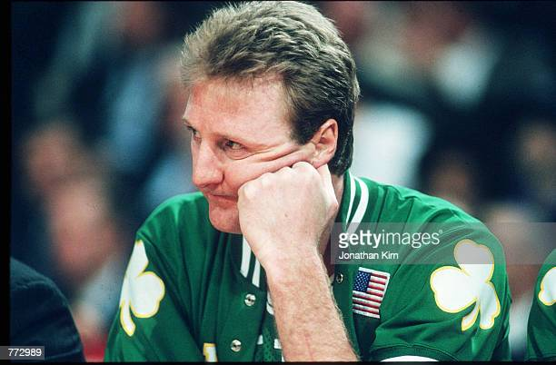 Basketball player Larry Bird sits during a basketball game February 15 1991 in Chicago IL Bird played for the Boston Celtics helped them to win three...