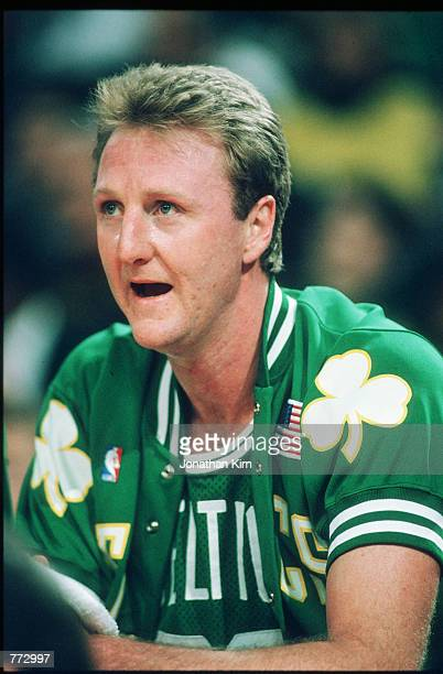 Basketball player Larry Bird sits during a basketball game February 15 1991 in Chicago Illinois Bird played for the Boston Celtics helped them to win...