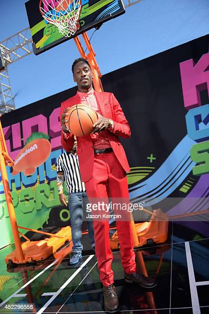 Basketball player Larry Sanders attends Nickelodeon Kids' Choice Sports Awards 2014 at UCLA's Pauley Pavilion on July 17 2014 in Los Angeles...