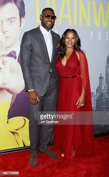 Basketball player LeBron James and wife Savannah Brinson attend the Trainwreck New York premiere at Alice Tully Hall on July 14 2015 in New York City