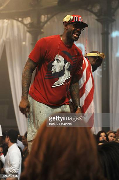 USA basketball player LeBron James parties at Club Bud presents TAO/Marquee with Swizz Beatz at The Roundhouse on August 12 2012 in London England