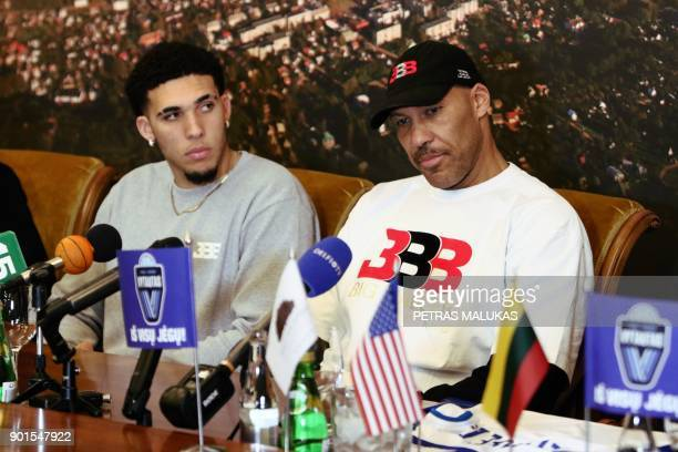 US basketball player LiAngelo Ball and his father LaVar Ball attend a press conference in Prienai Lithuania where his sons will play for the Vytautas...