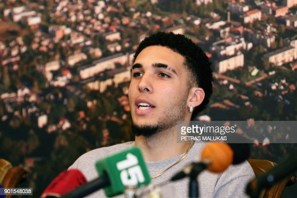 US basketball player LiAngelo Ball attends a press conference in Prienai Lithuania where he will play for the Vytautas club on January 5 2018...