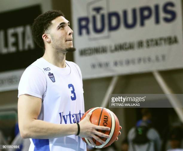 US basketball player LiAngelo Ball takes part in his first training session in Prienai Lithuania where he will play for the Vytautas club on January...