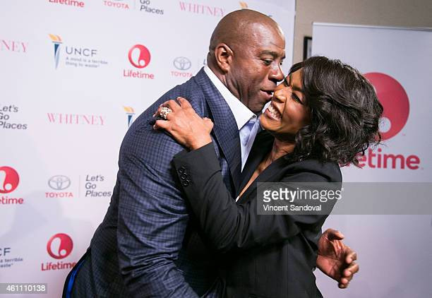 Basketball player Magic Johnson and actress/director Angela Bassett attend the world premiere of Lifetime's 'Whitney' at The Paley Center for Media...