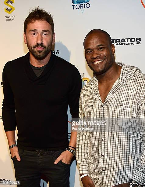 Basketball player Marko Jaric and football player Melvin Fowler attend Glazer Palooza and Suits and Sneakers on February 3 2016 in San Francisco...