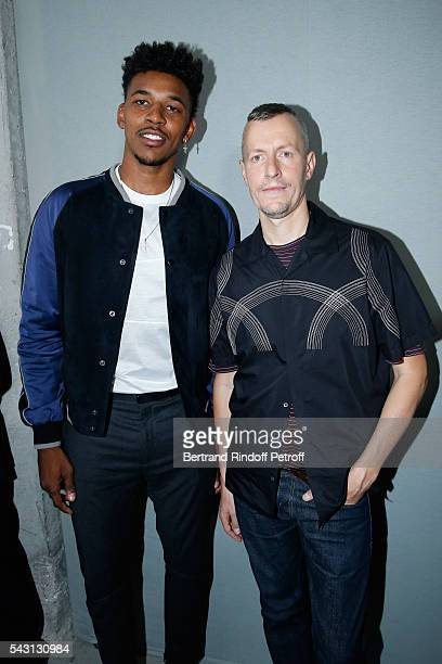 Basket-ball player Nick Young and Stylist Lucas Ossendrijver attend the Lanvin Menswear Spring/Summer 2017 show as part of Paris Fashion Week on June...