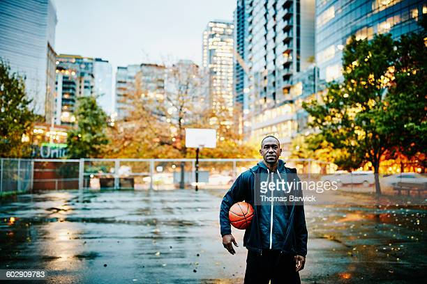 Basketball player on court before pickup game