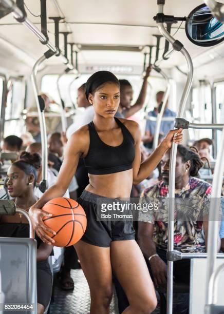 Basketball player on the bus