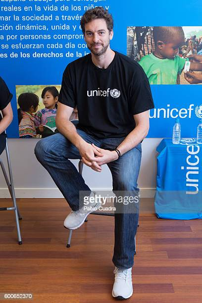 Basketball player Pau Gasol attends a press conference at UNICEF headquarters on September 8, 2016 in Madrid, Spain.