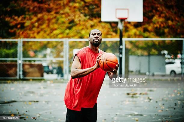 Basketball player preparing to take shot