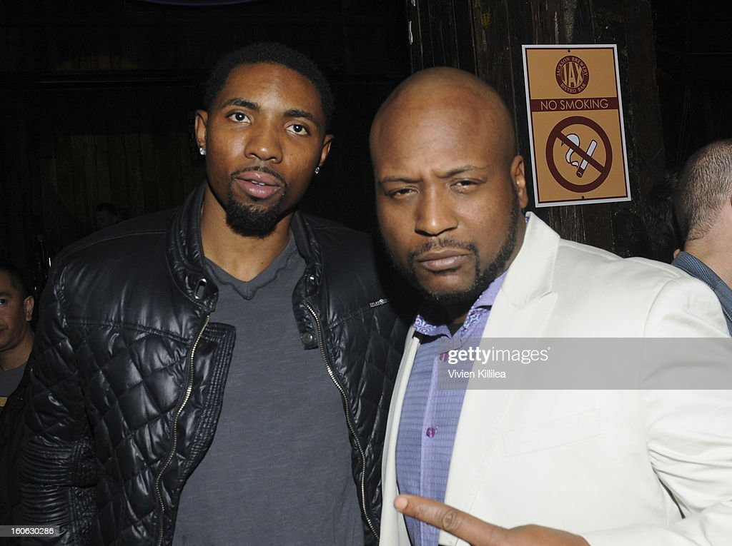 Basketball player Roger Mason Jr and producer Aaron 'A.P.' Phillips attend Greenhouse And Talent Resources Sports Host Super Sunday NOLA After Party at Jax Brewery on February 3, 2013 in New Orleans, Louisiana.