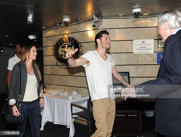 Basketball player Rudy Fernandez and Helen Lindes attend a dinner to celebrate Real Madrid winning the Endesa Spanish League at Puerta 57 Restaurant...