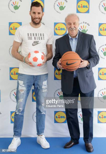 Basketball player Rudy Fernandez and soccer coach Vicente del Bosque attend the 'Formula desayuno' photocall at Vicente del Bosque campus on June 27...