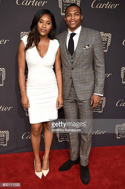 Basketball player Russell Westbrook and Nina Westbrook attend The Cartier Fifth Avenue Grand Reopening Event at the Cartier Mansion on September 7...
