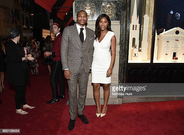 Basketball player Russell Westbrook and wife Nina Westbrook attend The Cartier Fifth Avenue Grand Reopening Event at the Cartier Mansion on September...