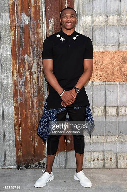 Basketball player Russell Westbrook attends the Givenchy fashion show during Spring 2016 New York Fashion Week at Pier 26 at Hudson River Park on...