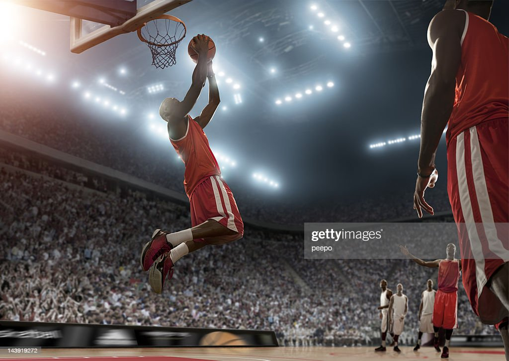 Basketball Player Scores During Game : Stock Photo