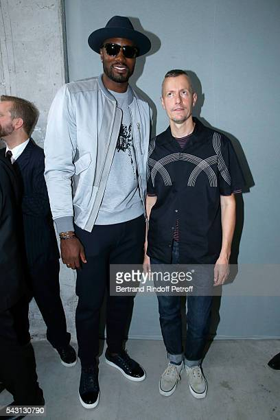 Basketball player Serge Ibaka and Stylist Lucas Ossendrijver attend the Lanvin Menswear Spring/Summer 2017 show as part of Paris Fashion Week on June...