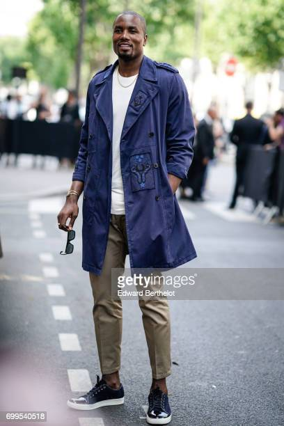Basketball player Serge Ibaka is seen outside the Valentino show during Paris Fashion Week Menswear Spring/Summer 2018 on June 21 2017 in Paris France