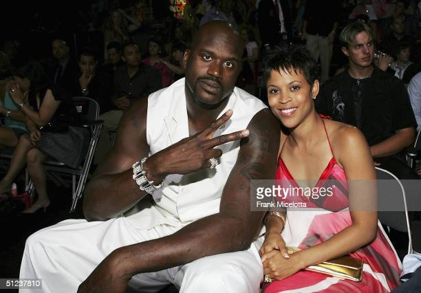 Basketball player Shaquille O'Neal and wife Shaunie O'Neal at the 2004 MTV Video Music Awards at the American Airlines Arena on August 29 2004 in...