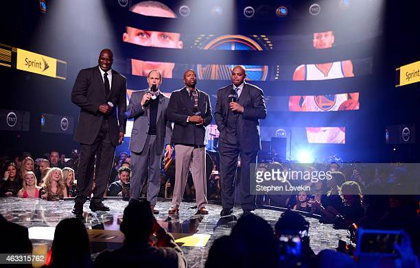 Basketball player Shaquille O'Neal sportscaster Ernest Johnson Jr basketball player Kenny Smith and basketball player Charles Barkley speak onstage...