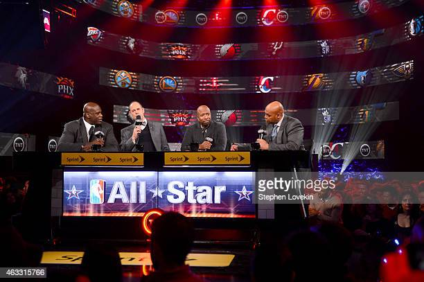 Basketball player Shaquille O'Neal, sportscaster Ernest Johnson Jr., basketball player Kenny Smith and basketball player Charles Barkley speak...
