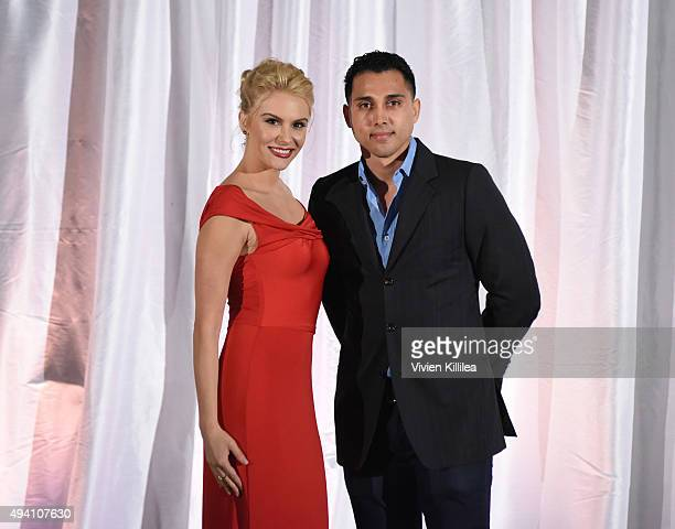 Basketball player Shawn Weinstein and actress Jackie Moore at the Pia Gladys Perey Spring/Summer 2016 Fashion Show at Sofitel Hotel on October 23...