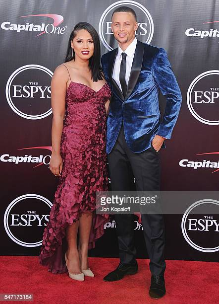 NBA basketball player Stephen Curry and wife Ayesha Alexander arrive at The 2016 ESPYS at Microsoft Theater on July 13 2016 in Los Angeles California