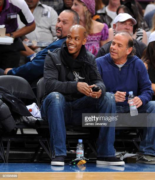 Basketball player Stephon Marbury attends the Philadelphia 76ers game against the New York Knicks at Madison Square Garden on October 31 2009 in New...