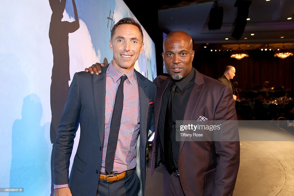Basketball player Steve Nash and actor Chris Spencer attend the 15th annual Harold & Carole Pump Foundation gala at the Hyatt Regency Century Plaza on August 7, 2015 in Century City, California.